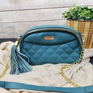 Joy & IMAN Teal Dome Small Shoulder Bag w/Tassel